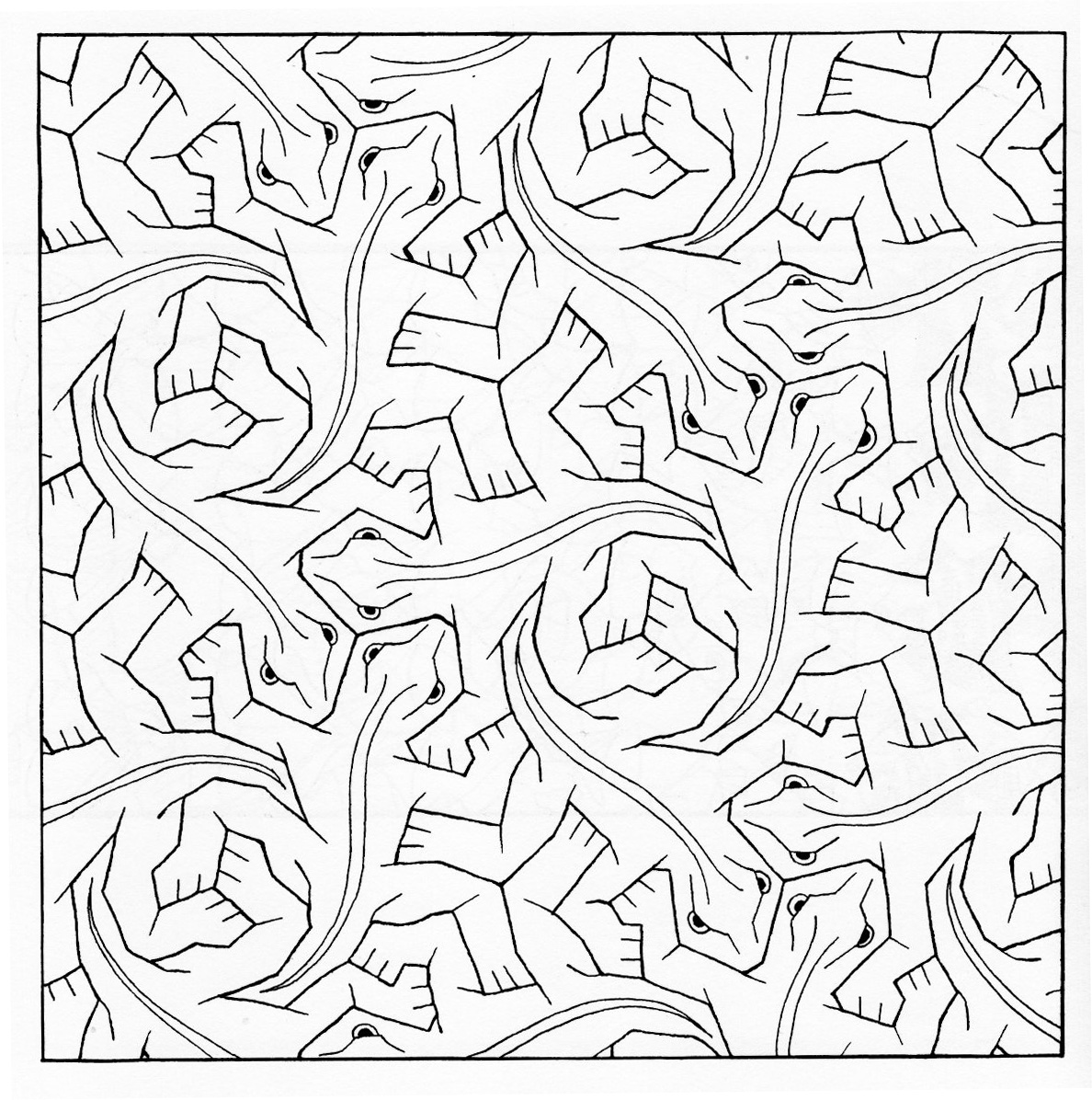 Escher Tessellations Coloring Pages